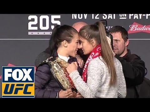 Joanna Jędrzejczyk-Karolina Kowalkiewicz staredown at UFC 205 pre-fight press conference | UFC 205