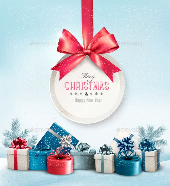 Merry Christmas Card with a Ribbon and Gift Boxes Vector EPS #design Download: http://graphicriver.net/item/merry-christmas-card-with-a-ribbon-and-gift-boxes-/13748860?ref=ksioks