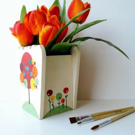 """vaso portafiori, copri vaso in legno, """"albero della vita"""" di feltriamo su Etsy"""