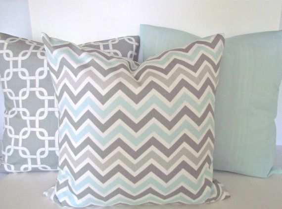 Blue, Gray, Tan Chevron. Fabric is mist and gray chevron by carousel designs