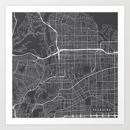 Pasadena Map, USA, Gray, Map, California