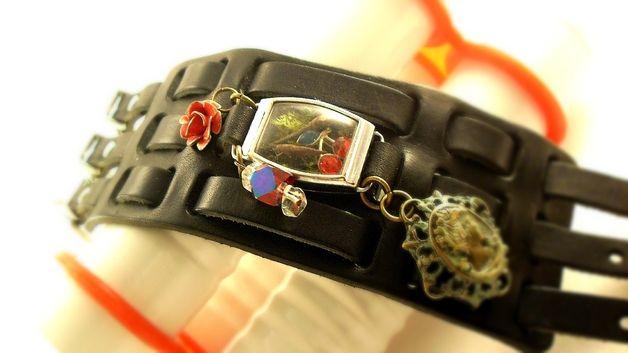 ADAM & EVE - Echtes Moos Terrarium Leder Armband