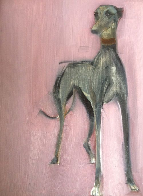 Sally Muir Hound Oil on Board 8x6 £350. i love the colors n technique used for the background as well as the GORGEOUS grey
