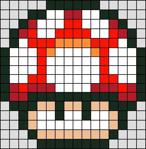Patron / Pattern : Champignon Rouge Super Mario NINTENDO en Perle HAMA (Mini)    Taille de la grille 16 x 16 (soit environ  4,0 x 4,0 cm)    Nombre de perles totales : 208 (sans le fond, que le personnage)