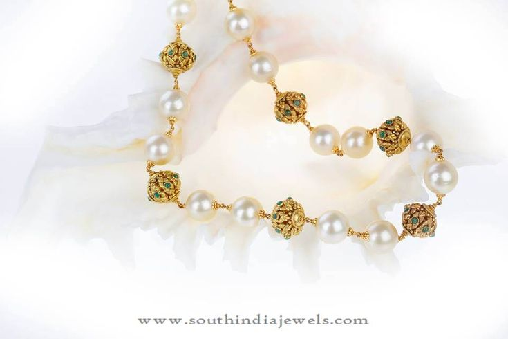 Gold Chain Designs, Gold Chains with South Sea Pearls.
