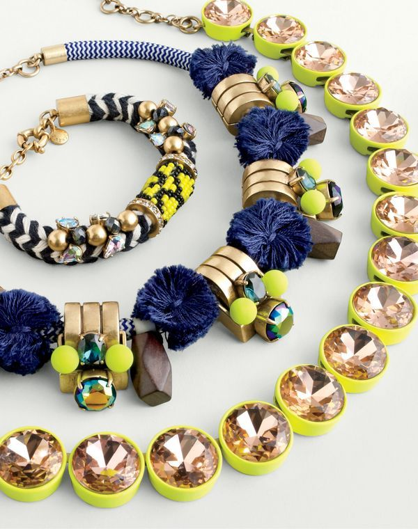 J.Crew women's embellished sailor bracelet, gizmo necklace and jumbo brûlée necklace. To pre-order, call 800 261 7422 or email verypersonalstylist@jcrew.com.