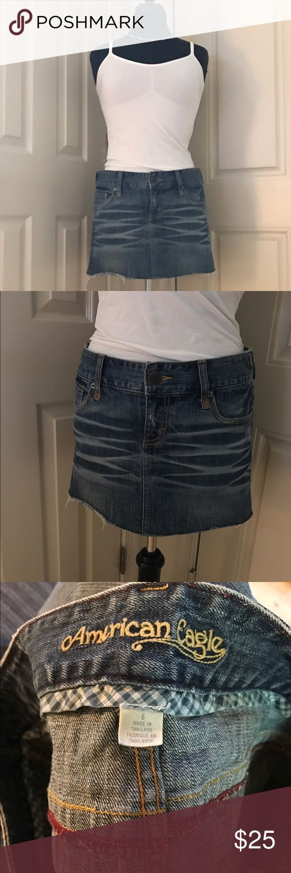 2 for 20 Distressed jean skirt American eagle size 6 distressed jean skirt. In excellent condition 🤗Buy 2 skirts for $20💥💥price is firm unless bundled. To get the 2 for $20 deal bundle the 2 items you want and submit a bundle offer. Please ask if you have questions American Eagle Outfitters Skirts Mini