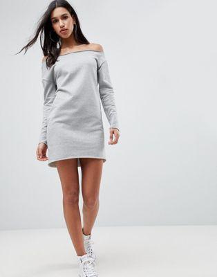 32abaea725d New ASOS Raw Edge Off Shoulder Sweat Dress online.
