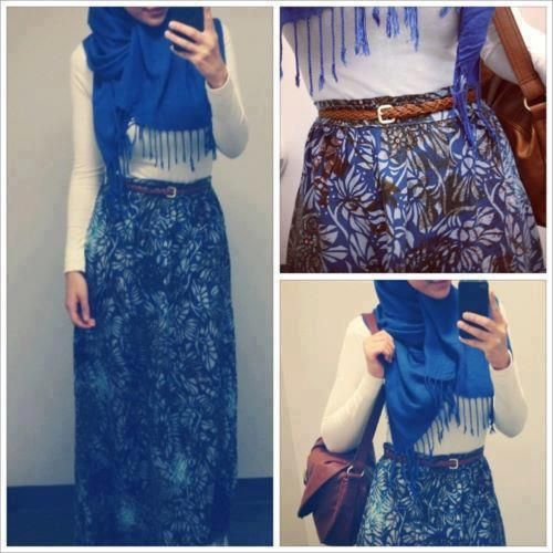 Blue Hijab |  TIP: Use white top on print skirt) |  tags: hijab fashion, hijab outfit, hijab style, hijab inspiration