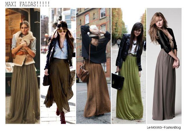 ANTOJO DE HOY: Maxi faldas con botas y campera de cuero, chalecos de piel o cardigans,!!
