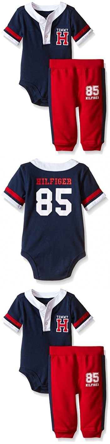 Tommy Hilfiger Baby Boys' Solid Interlock Bodysuit and Solid French Terry Pants, Navy, 12 Months