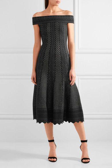 Alexander McQueen - Off-the-shoulder Jacquard-knit Dress - Black -