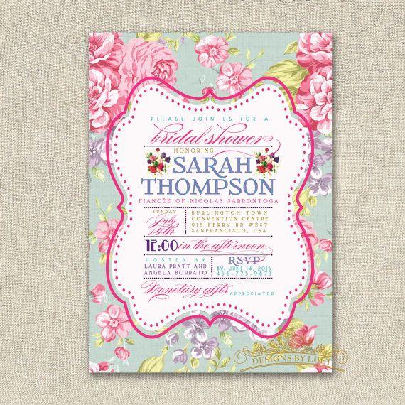 Vintage Floral Bridal Shower Invitation - Bridal Shower Invite - Shabby Chic Wedding Shower Invitation - DIY Printable - Digital File