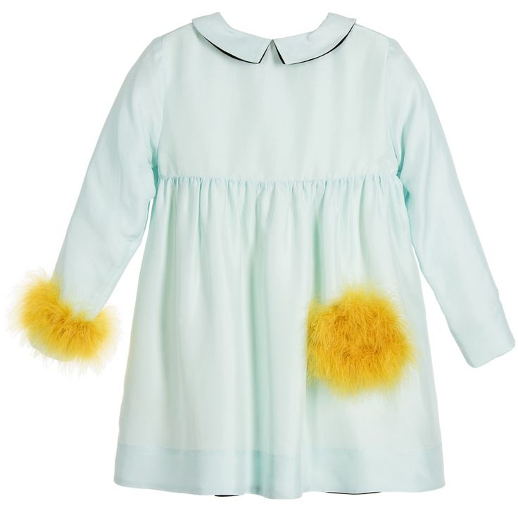 Sonia Rykiel Paris Mint Green Silk Dress with Yellow Feather Trims at Childrensalon.com