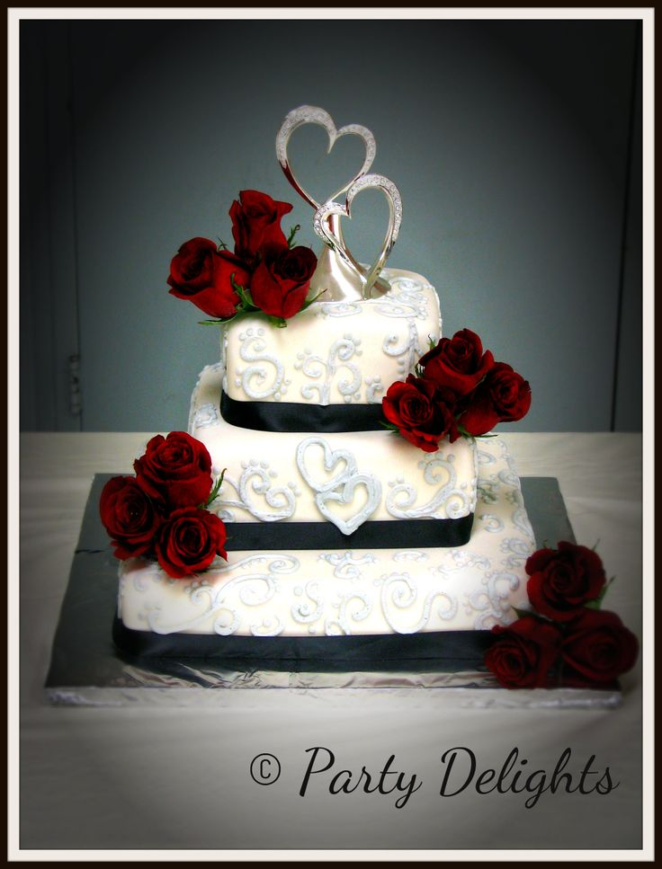 Black White Red And Silver Wedding Cake
