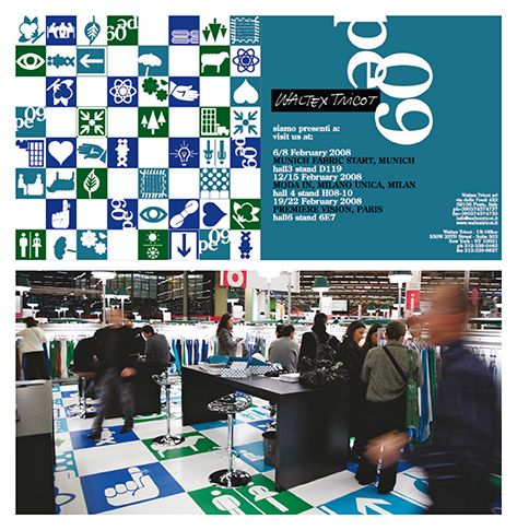 concept+graphic design elisabetta scarpini, invitation+printed floor at Première Vision, Waltex Tricot