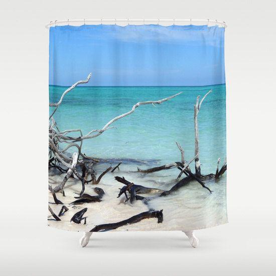 Beach Shower Curtain Tropical Shower Curtain Bathroom Aqua