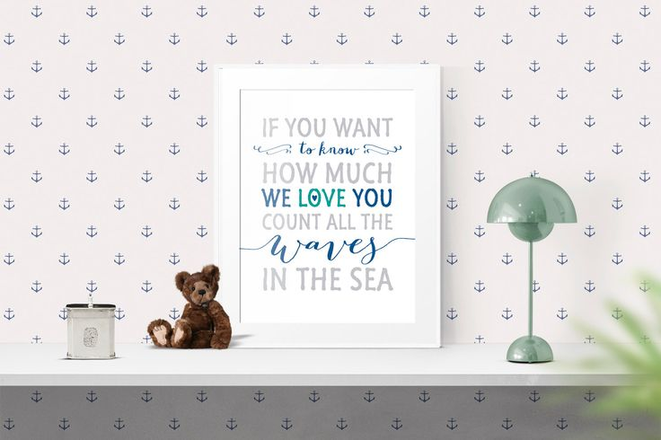 Nursery Art Print Decor, If you want to know how much we love, Navy White, 8 x 10 and 16 x 20, Inspirational Motivational Wall Art | #168 by WisdomWallArt on Etsy