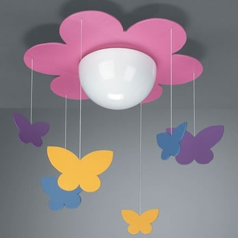Ceiling light for the girls -- make my own with inexpensive white flush/semi-flush fixture.