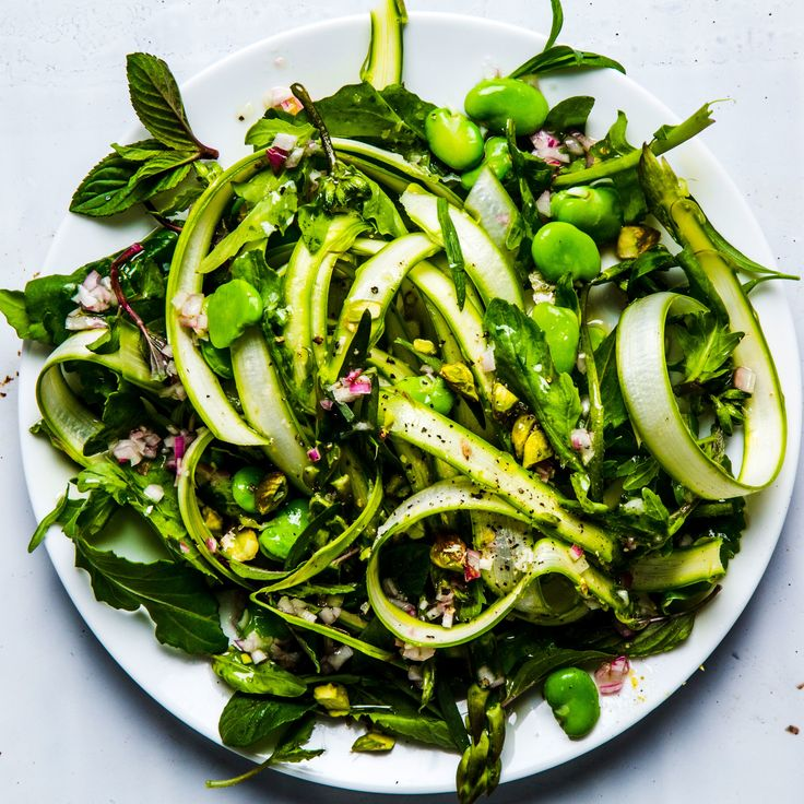 Fava Bean and Asparagus Salad Recipe - this salad is a celebration of spring. If you can't find fava beans, substitute English peas or sugar snap peas instead.
