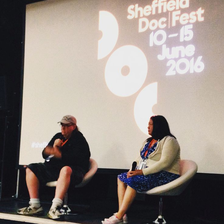 Michael Moore at Sheffield Doc/Fest after a screening of his documentary Where to Invade Next?