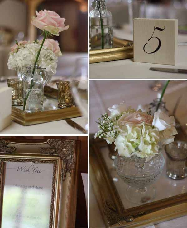 White Hydrangea and Vintage style Roses in cut crystal glass for beautiful romantic feel. #Wedding #Flowers www.passionforflowers.net