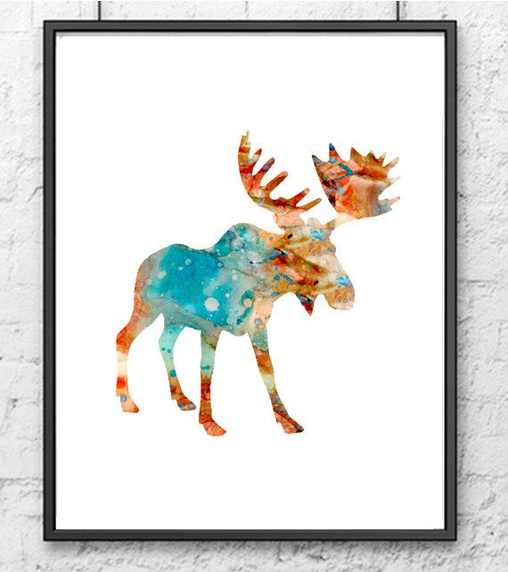 Moose Art Print Watercolor Animal Painting by Thenobleowl, $15.00