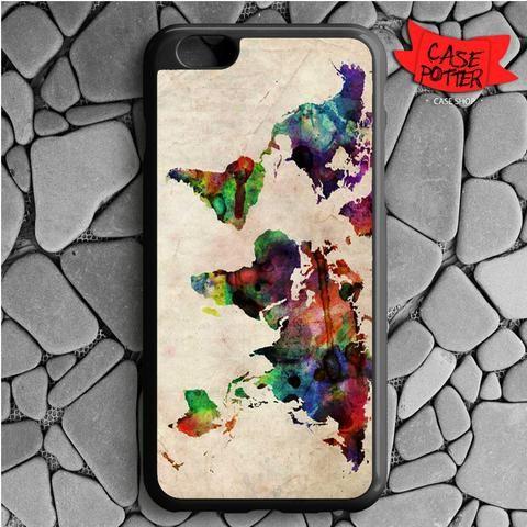 World Map Urban Watercolor iPhone 6 Plus iPhone 6S Plus Black Case