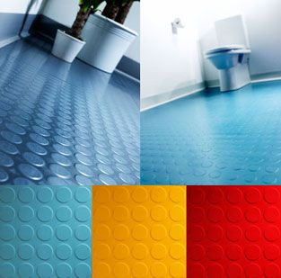 Floor A Dot Rubber Bathroom Flooring frequently used in Bathroom, the inherent qualities of round stud tile rubber flooring also makes it suitable for installation in Bathrooms.