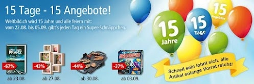 Wir feiern 15 Jahre Weltbild.ch mit 15 tollen Angeboten während den nächsten 15 Tagen. Hier geht's zu unseren Jubiläums-Schnäppchen:  http://www.weltbild.ch/1/15tage15angebote/15tage-15angebote.html?wea=2226849 #Preishits #Rabatt