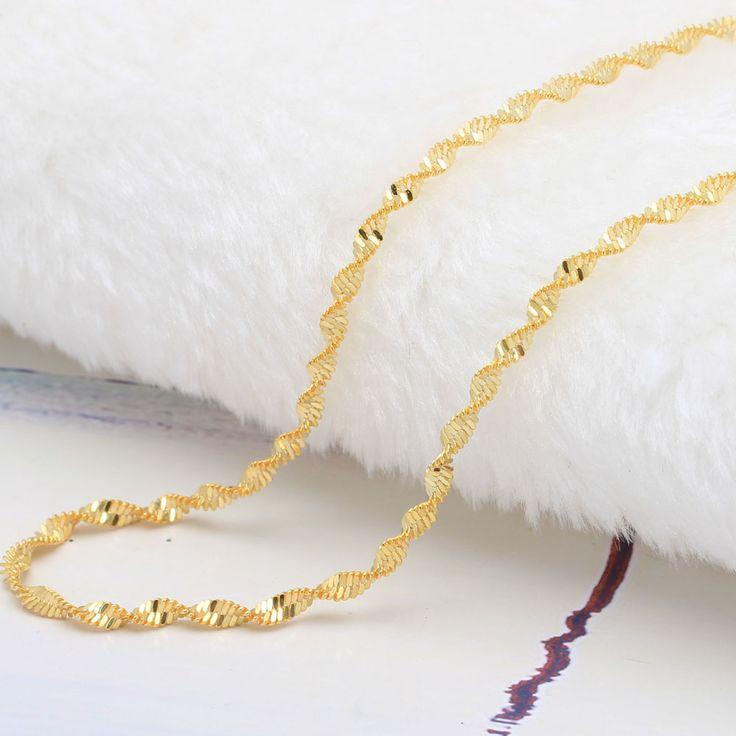 ゴールドプレートツイストチェーンペンダント用16-30インチ卸売ドロップ配送2016ダブル水波チェーンネックレス
