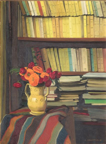 La bibliothèque - Félix Vallotton, 1921: Books Author, Art Still Life Paintings, Reading Books
