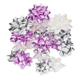 Don't forget to make those presents stand out and look beautiful with this 25 pack of silver, pink and white bows