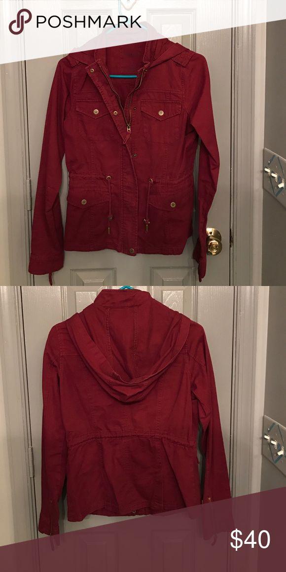 Aeropostale Military Jacket Maroon Hipster Military bomber jacket, worn once! Aeropostale Jackets & Coats
