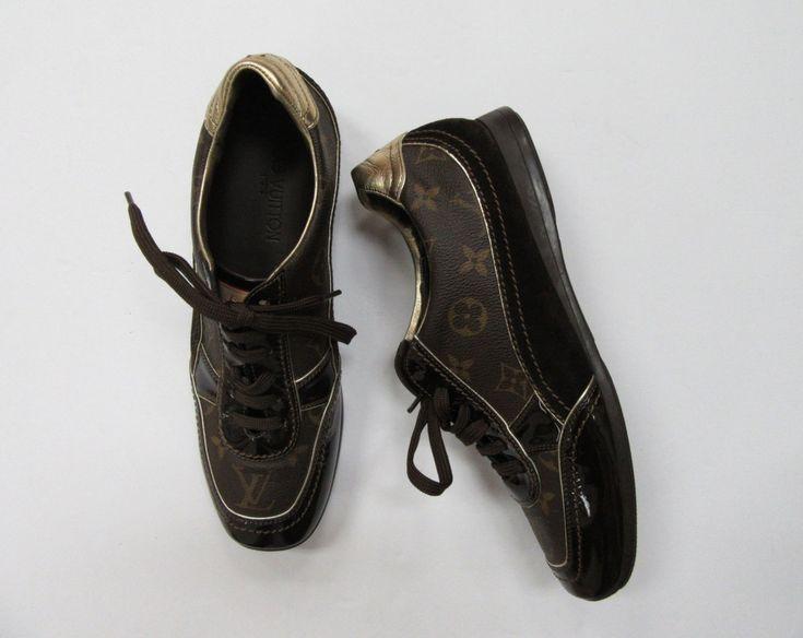 Louis Vuitton  signature monogram tennis shoes, size 8 (39).