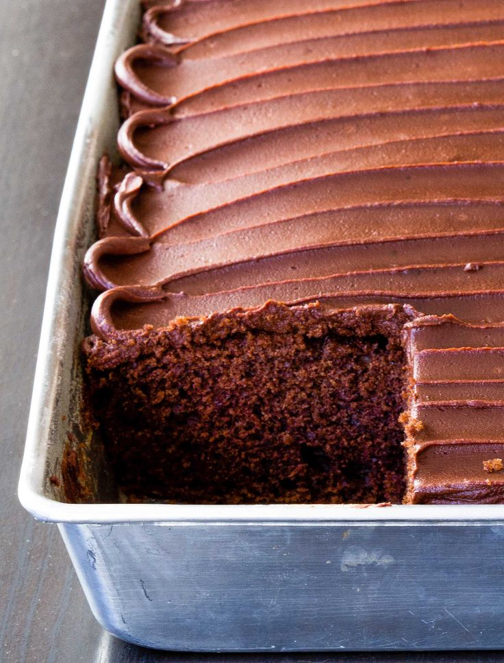 Easy chocolate cake made with sour cream, cocoa powder, and melted chocolate. The perfect balance of decadence and simplicity! Don't forget the chocolate frosting...