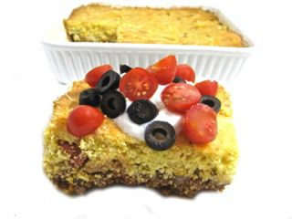 Skinny Taco Style Cornbread Casserole (Tamale Pie). Enjoy a skinny fiesta night with this NEW easy casserole. It's a skinny twist on a classic tamale pie. Each serving 322 calories, 8 grams of fat and 8 Weight Watchers POINTS PLUS. http://www.skinnykitchen.com/recipes/taco-style-cornbread-casserole-tamale-pie/