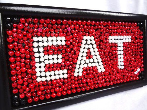 "Framed Mardi Gras bead mosaic ""EAT"" red, black, kitchen decor,  home, wall art, 6 x 12. $33.00, via Etsy."