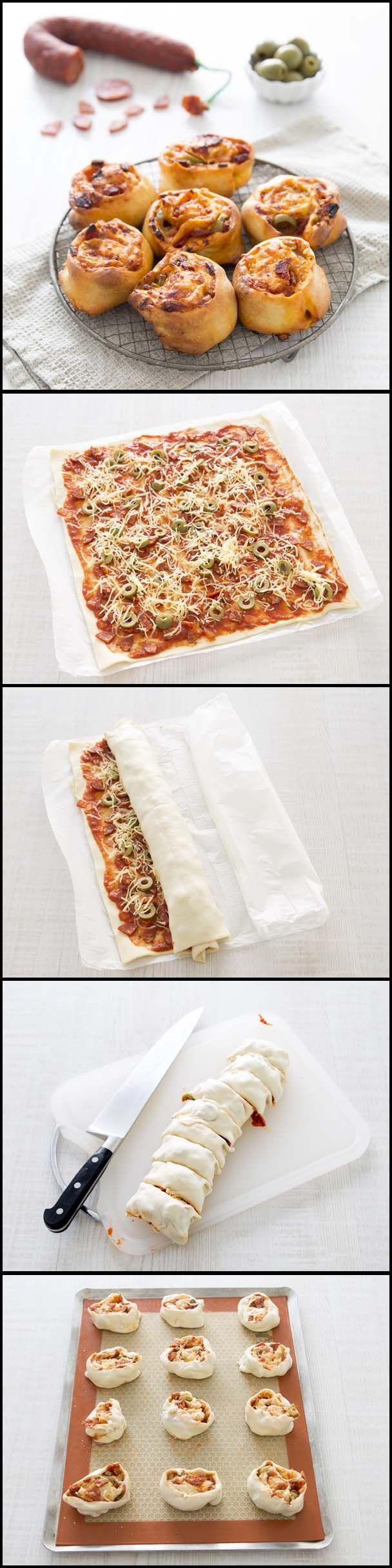 Pizza roll au chorizo et olives vertes - DIY en photos pas à pas - Recettes de…                                                                                                                                                                                 Plus