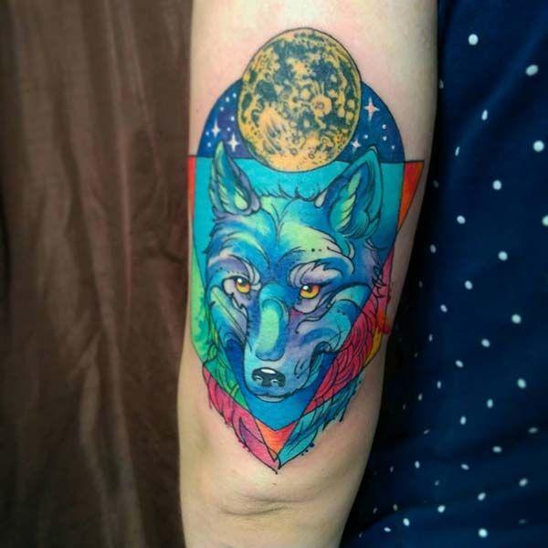 blue wolf tattoo design