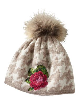 clan rose knit houndstooth hat with polarfleece lining made in Austria with needlepoint rose and fur pom pom $228.00