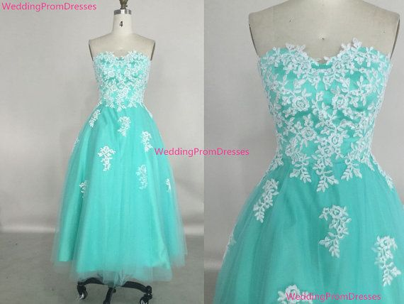 Cute Tea Length Tulle Turquoise Prom Dress by WeddingPromDresses