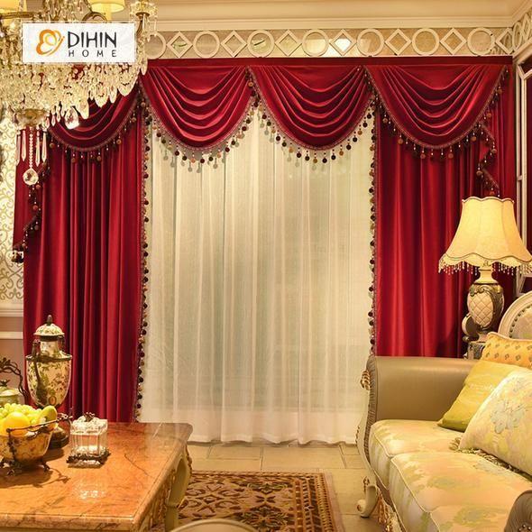 Dihin Home Solid Bright Red Velvet Blackout Curtains Grommet