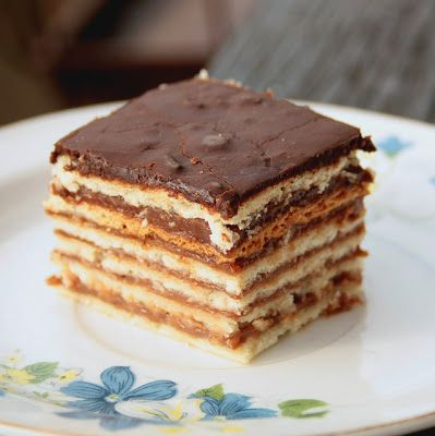 Hungarian layer cake similar to Gerbeaud, but chemically leavened and baked before layering