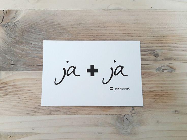Kaartje Ja + ja = getrouwd