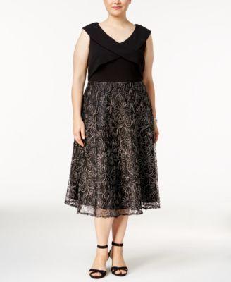 Alex Evenings Plus Size Metallic Tea-Length Dress | macys.com