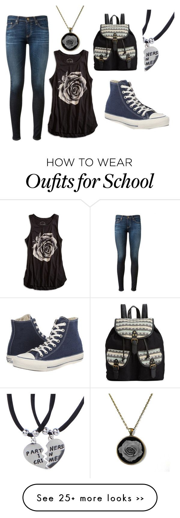 """Back to School!"" by kayleecat124 on Polyvore featuring Converse, AG Adriano Goldschmied, Rampage and Lucky Brand"