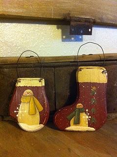 Antique Pallet Wooden mitten and stocking