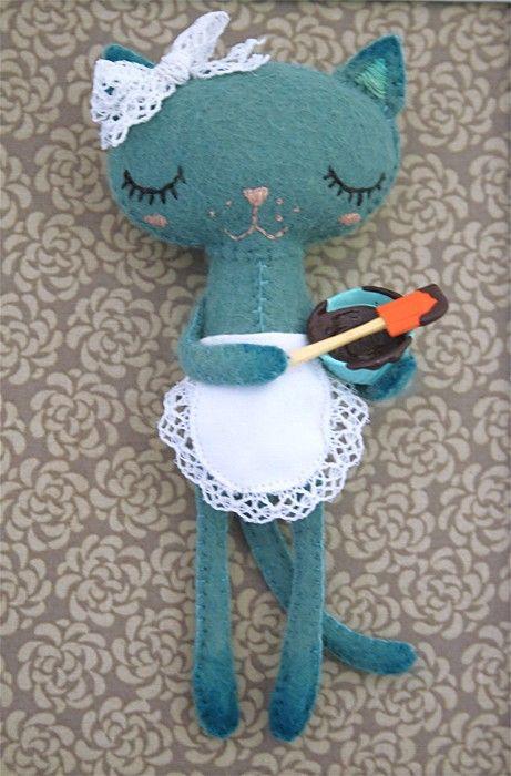 love!: Kitty Stuffed Animal, Stuffed Toys, Sewing Dolls, Holiday Kitty, Kitty Cat, Kids Stuff, Cute Kitty, Felt Cat, Retro Style