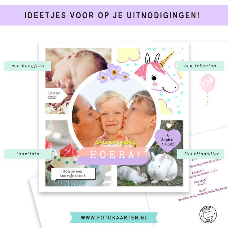 Wat voor foto's zou je zoal op een fotokaart kunnen plaatsen? We hebben hier wat ideetjes in een kinderfeest kaartje verwerkt. Bijvoorbeeld een babyfoto, een mooie tekening van je kleine, of de taart die je gebakken hebt....en niet te vergeten zijn/haar lievelingsdier of huisdier. Zo maak je een collage compleet gezellig! www.fotokaarten.nl